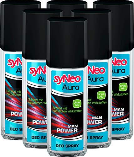 syNeo Aura MAN Power, Herren Deo ohne Aluminium mit bis zu 24h Schutz, Deodorant für Männer, Spray Deospray Men, 6er Pack (6 x 75ml)