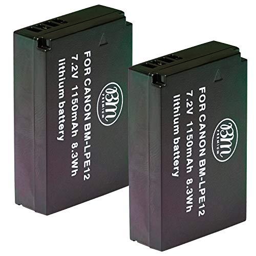 BM Premium 2-Pack of LP-E12 Batteries for Canon SX70 HS, Rebel SL1, EOS-M, EOS M2, EOS M10, EOS M50, EOS M100, EOS M200 Mirrorless Digital Cameras
