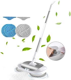 回転モップ モップ 電動 コードレス 電動回転モップクリーナー充電式掃除機ハンディクリーナー水拭き スプレー 乾湿両用腰曲げず長さ調節軽量 片手操作可能LEDライト付き一年安心保証