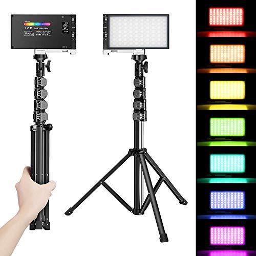 LED ビデオライト Pixel G1S RGB 撮影用照明ライトセット Type-C充電式 3200mAh 2500K-8500K 12W CRI97+ 調節可能な三脚スタンド/ホットシュー付き 小型動画撮影ライト フルカラなLED照明 生放送、YouTube、ポートレート、商品撮影、ビデオ撮影に適用 日本語マニュアル付き