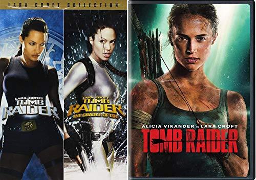 Adventurer Lara Croft Movie Collection Tomb Raider Angelina Jolie + Cradle of Life + 2018 Alicia Vikander 3 Film DVD