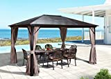 Mellcom 10' x 12' Hardtop Gazebo with Netting Curtains and Sidewalls, Polycarbonate Top and Aluminum Frame
