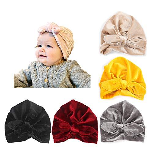 DRESHOW 5 Stück Baby Turban Tuch Hut Baby Mädchen Weiche Nette Kleinkind Cap Hut Knoten Kaninchen Krankenhaus Hut