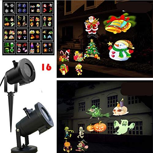 TYZY Halloween Projektor Lichter 16 Muster Weihnachtskarte Design Licht im Freien weiße Schneelampe Dynamische Drehung Mit Fernbedienung für Bühnenfest Bankett,Au