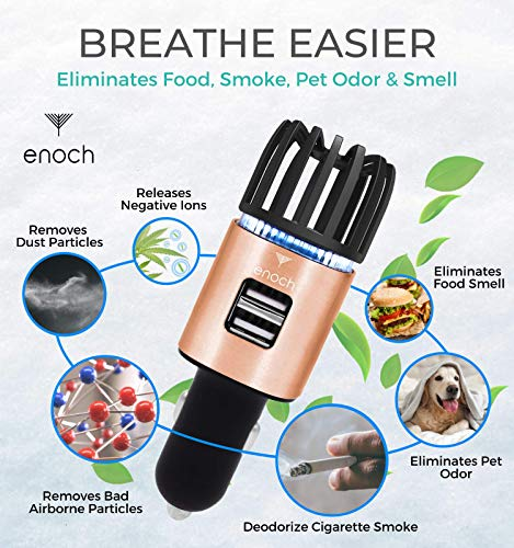 Enoch Car Air Purifier with USB Car Charger 2-Port. Car Air Freshener Eliminate Odor, Dust, Pollen. Removes Smoke, Pet and Food Odor, Ionic Ozone. Ionic Car Deodorizer. Color - Rose Gold