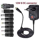12W Universel AC DC Adaptateur d'alimentation 3 4,5 5 6 7,5 9 et 12 V avec 8 Prises d'adaptateur Sélectionnables, 1000 mA Max, 115cm Câble de Chargement
