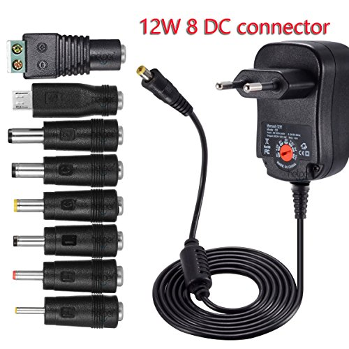 12 W Universal AC/DC Adaptador de conmutación regulado Fuente de alimentación con 8 Adaptador Conectores,1000 mA MAX, 3-12 V hogar Electronics Dispositivo