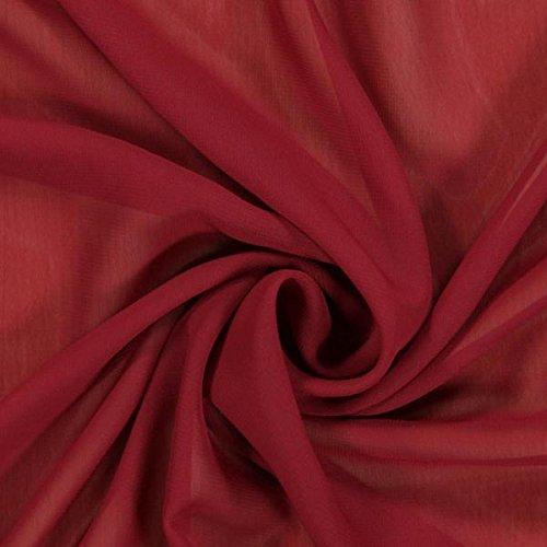 Fabulous Fabrics Chiffon Stoff Bordeauxrot – Weicher Chiffon Stoff zum Nähen von Kleider, Blusen, Tücher, Rocke und zur Dekoration - Chiffon Dekostoff - Meterware ab 0,5m