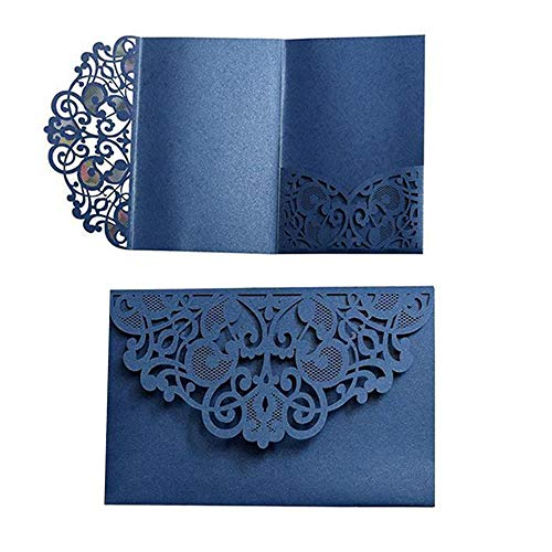 Wedding Invitation Cards,10pcs Laser Cut Floral Design Invites Pocket for Bridal Showers, Engagement Parties, Includes Covers, Blank Inserts (Dark Blue)