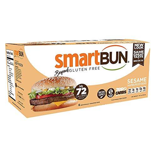 SmartBUN, Keto Hamburger Buns, Low Carb Bread, ZERO Net Carbs, Gluten Free, 6 Total Buns (Sesame)