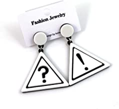 Bxzhiri Earrings for Girls Symbol Exaggerated Sexy Exclamation Mark Question Mark Acrylic Earrings Black Drop Earrings