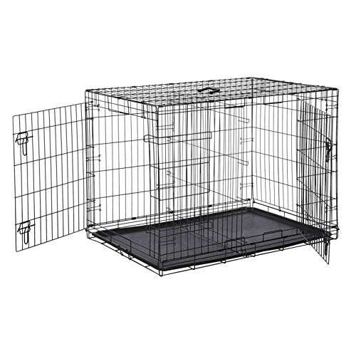 Amazon Basics Double-Door Folding Metal Dog or Pet Crate Kennel with Tray, 42 x 28 x 30 Inches
