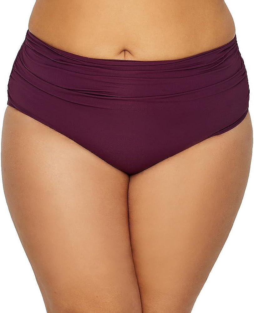 Anne Cole Womens Plus High Waist Fold Over Bikini Swim Bottom Purple 18W