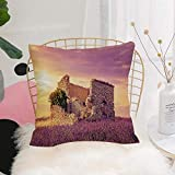 Purer Weicher Kissenbezug Kissenhülle Set,Lavendel, blühendes Frühlingsfeld und beschädigte alte...