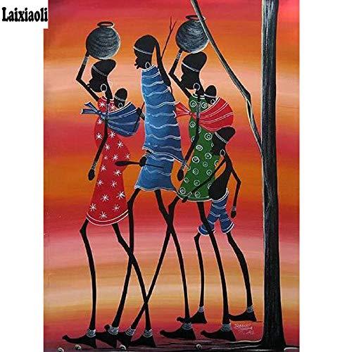 MSSDUCL 5D Diamond Painting complete set grote borduurwerk boormachine naaien decoratie voor vrouwen Afrika Walker Cross Stitch Needlework 40 x 50 cm (16 x 20 inch)