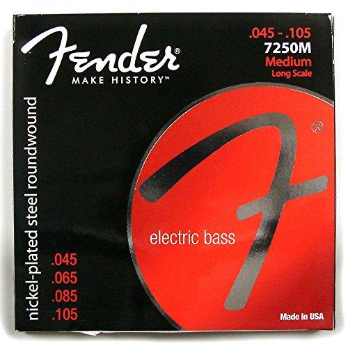 Fender 073-7250-406 7250 cuerdas para bajos, acero niquelado, escala larga, medidores 7250M .045-.105, (4)