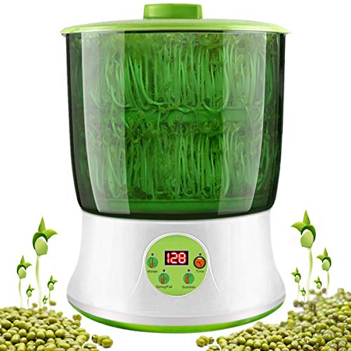 KiKiHeim Bean Sprouts Machine, Automatic Bean Sprouts Maker, Seed Sprouting Kit with Double Germination Tray, Temperature Control and Automatic Watering
