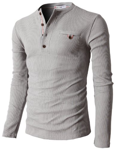 H2H Mens Casual Slim Fit Henley Shirts with Bound Pocket of Waffle Cotton Gray US M/Asia L (KMTTL062)