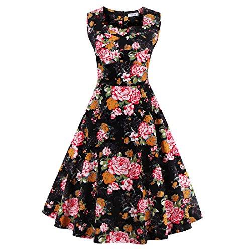 Babyonline Damen Kleid Kurz Sommer Petticoat Faltenrock Ärmellos Mit Blumen 50er Jahre Vintage Swing Rockabilly Cocktailkleid Knielang Schwarz M