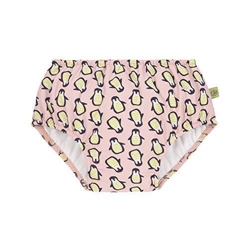 LÄSSIG Baby Schwimmwindel Badewindel wiederverwendbar waschbar Auslaufschutz UV-Schutz/Splash & Fun Baby Swim Diaper girls Penguin Peach, 12 Monate