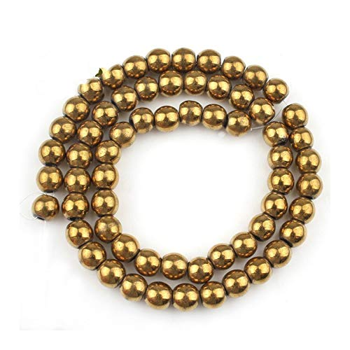 HONGTAI Naturales Hematites Oro Rose Stone 4 6 8 10 MM Granos Flojos Redondos For La Costura Hacer Pulsera (Color : Gold, Size : 6mm Approx 61 63pcs)