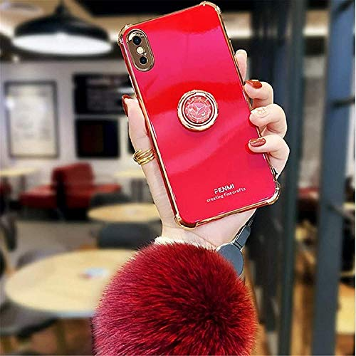 FNHC Cute Phone Cases, Luxurious Original Clock Watch Time Women Girls Soft TPU Shiny Case with Phone Kickstand Ring Plush Ball Ornament (for iphone 11,Red)