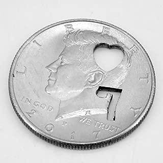 7 of Hearts / 3 of Square Half Dollar / 焼き印コイン(ハートの7、ダイヤの3 選択可能) ハールドル 近景コインマジック 予言 テレパシー (ハートの7)