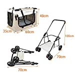 Display4top Pet Travel Stroller Dog Cat Pushchair Pram Jogger Buggy w/Locking Zippers Plush Nap Pillow 2X Interior Room Airy Windows Sunroof Reduces Anxiety 13