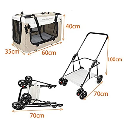 Display4top Pet Travel Stroller Dog Cat Pushchair Pram Jogger Buggy w/Locking Zippers Plush Nap Pillow 2X Interior Room Airy Windows Sunroof Reduces Anxiety 4