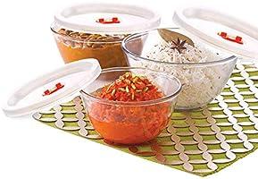 Borosil - IY22BSN6913E Basics Glass Mixing Bowl with lid - Set of 3