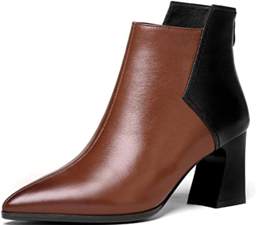 Shiney botas De Martin para mujer De Tacón Alto De Moda En Punta De Cuero Genuino Chunky Heel