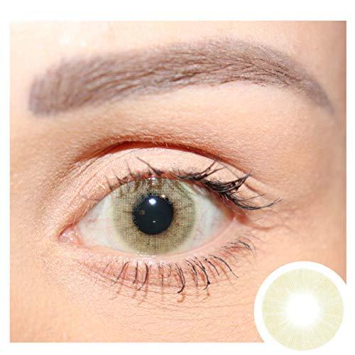 Premium Jahreslinsen stark deckende natürliche Hidrocor farbige Kontaktlinsen Mel - grün I ohne Stärke I 0.00 Dioptrien I 1 Paar (2 Stück) I DIA 14.20