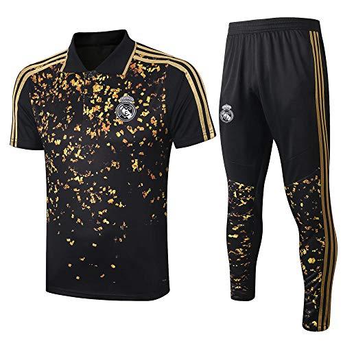 Zhaojiexiaodian Jersey Club Black Gold korte mouwen en leggings Sportswear voetbal