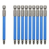 Biaungdo 10Pcs Magnetic PH2 Phillips Bits Set 3.5 inch Long Anti Slip #2 Bit (PH2 x 90MM)