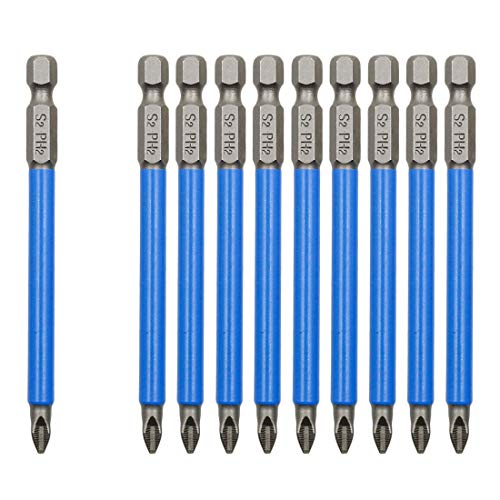 Cyful 10Pcs Magnetic PH2 Phillips Bits Set 3.5 inch Long Anti Slip #2 Bit (PH2 x 90MM)