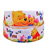 2m x 22mm Wide Baby Winnie The Pooh and Piglet for Personalised Birthday Cake Decoration Ribbon Decorating Ideas for Present Gift Wrap Bows Toppers or Wrapping Box Bags Cards Art Craft