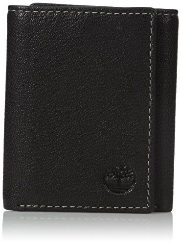 Timberland Men's Genuine Leather RFID Blocking Trifold Security Wallet, black, One Size