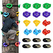 #LightningDeal 12 Ninja Tree Climbing Holds for Kids Climber, Adult Climbing Rocks with 6 Ratchet Straps for Outdoor Ninja Warrior Obstacle Course Training