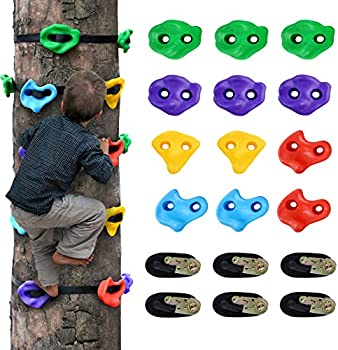 12-Set Ninja Tree Climbing Holds for Kids with 6 Ratchet Straps