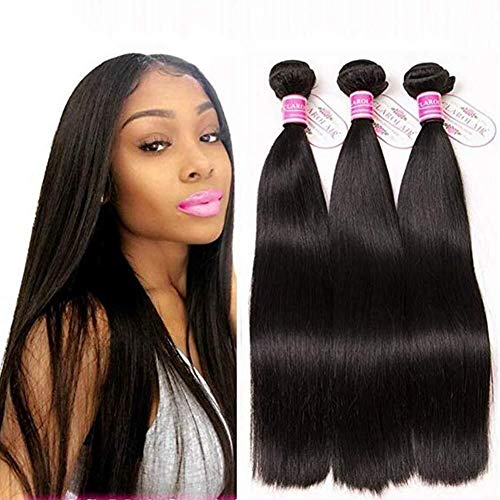"Qbylyf FA Women Costume Wigs Hair Virgin Straight Hair 3 Bundles 100% Brazilian Unprocessed Human Hair Weave Bundles Human Hair Extensions 3 Bundles Deal Natural Black ly (Size : 12"")"