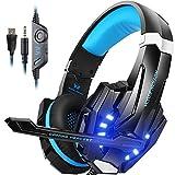 Gaming Headset für PS4 PC Xbox one, Surround Sound Gaming kopfhörer mit USB kabel für LED, Stereo Sound Over Ear Kopfhörer mit Mikrofon G9000, Noise Cancelling,Lautstärkeregelung Schwarz Blau