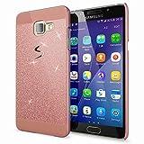 NALIA Custodia Protezione compatibile con Samsung Galaxy A5 2016, Glitter Hard-Case Sottile Cover Protettiva Cellulare, Slim Copertura Rigida Telefono Bumper Scintillio - Rosa Gold Oro