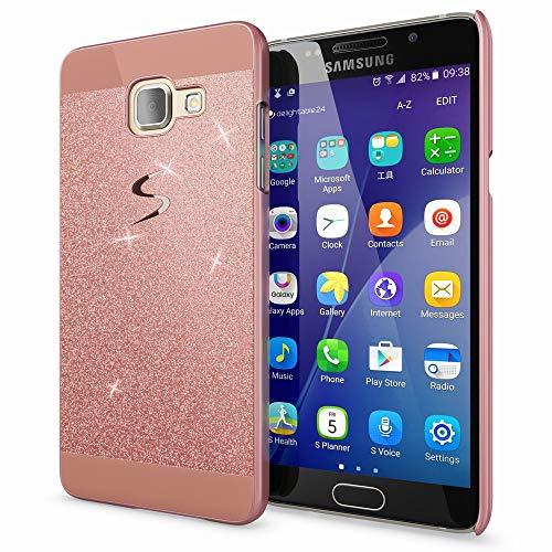 NALIA Handyhülle kompatibel mit Samsung Galaxy A5 2016, Glitzer Slim Hard-Case Hülle Back-Cover Schutzhülle, Handy-Tasche im Glitter Sparkle Design, Dünnes Bling Strass Etui Phone Skin - Rose Gold