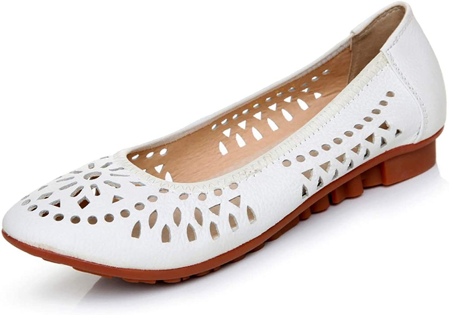 LANSEL Single shoes Spring and Summer Hollow Flat Soft shoes Pregnant Women shoes White shoes