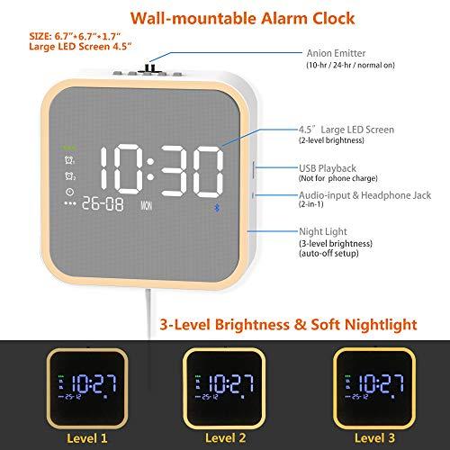 KEiiD Alarm Clock Radios Speaker Wall Mountable with FM Radio Bluetooth 5.0 Snooze Sleep Timer Night Light Dimmer, USB Mp3 Player AUX Line in Headphone Jack 30 Fm Preset