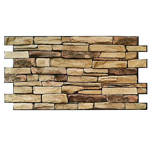 Panel de imitación de piedra de PVC, grosor 0,4 mm, efecto pizarra natural, 98 x 48 cm