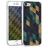 kwmobile Funda Compatible con Apple iPhone 7/8 / SE (2020) - Carcasa para móvil Mosaico Triangular en Azul Oscuro/petróleo/Beige