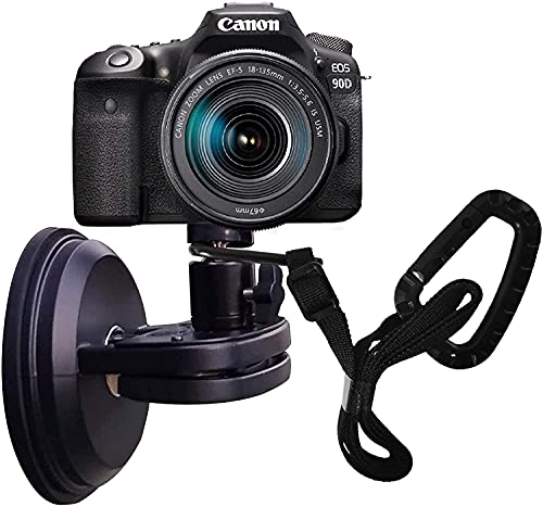 NUNET Suction Cup Camera Mount for Heavy Duty DSLR/NuCam WR/Gopro, Strong 5' Diameter Suction Base, Car Sucker Mount, Glass Mounting Kits Tools for Boat/Windshield/Window