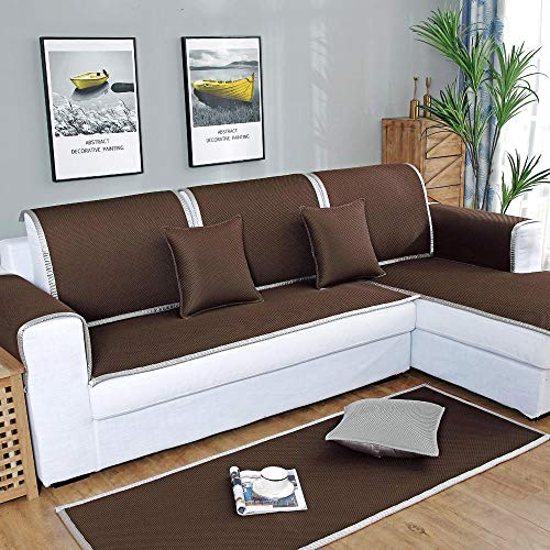YUTJK Washable and Foldable Honeycomb Structure Sofa Mat,Anti-slip Sofa Slipcover,Sofa Cover Four Seasons Universal,Pet Dog Couch Covers,Machine Washable Furniture Protector,sold by piece,Dark-brown