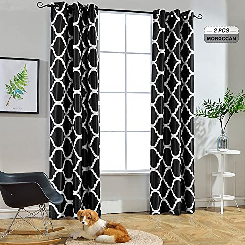 Melodieux Moroccan Fashion Thermal Insulated Room Darkening Blackout Grommet Curtains for Living Room, 42 by 63 Inch, Black (2 Panels)
